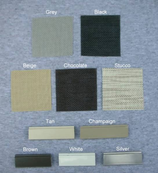 solar window screens colors options - Window Screen Frame Material